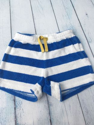 Mini Boden blue/white striped towelling shorts age 3-4